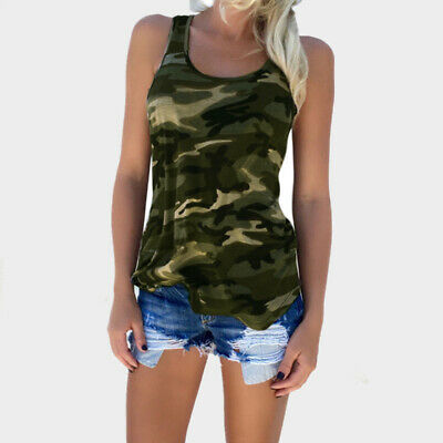 Women Fashion Casual Army Camo Camouflage Tank Top Sleeveless O-neck Slim Shirt