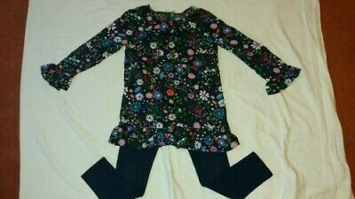M & S 2 Part Set Navy Floral Top and Navy Leggings Age 8-9