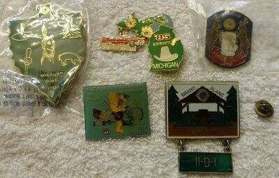 LIONS CLUB Pins Vintage 5 pc lot NIP NOS Flint Grand Blanc Michigan
