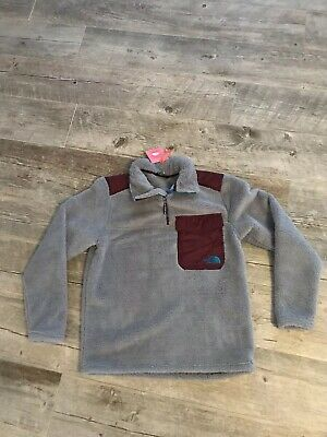 The North Face Men's Large Groveland (Campshire)Sherpa Pullover Gray/Maroon NWT
