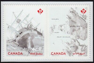 FRANKLIN EXPEDITION = EREBUS SHIP = Embossed BK Pair Canada 2015 #2854-55 MNH-VF