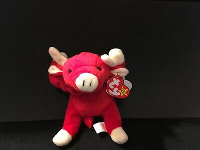 0cea5149055 Retired Ty Beanie Baby Snort the Red Bull. Multiple Tag Errors. Mint  Condition.