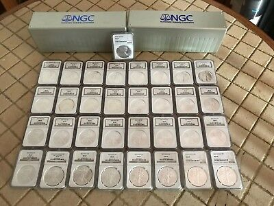 1986 thru 2019 Silver American Eagle NGC MS69 Set, Brown Label