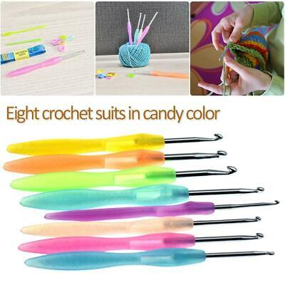 8Pcs Crochet Hook Soft Grip Set Handles Knitting Needles Multi-Colour Aluminum