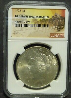1923 Stage Coach Peace Dollar NGC Brilliant Uncirculated