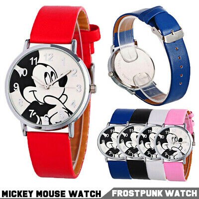 Cute Mickey Mouse Leather Wrist Watch Lady Girl Women Child Kids Cartoon Watches