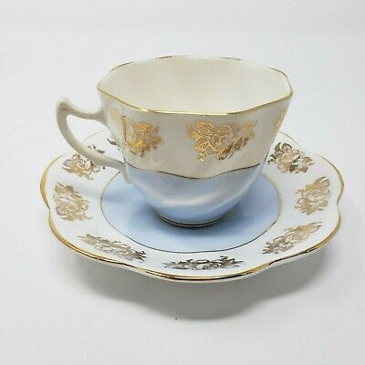 Vintage Crownford Rose Gold Blue Tea Cup Saucer Fine Bone China England