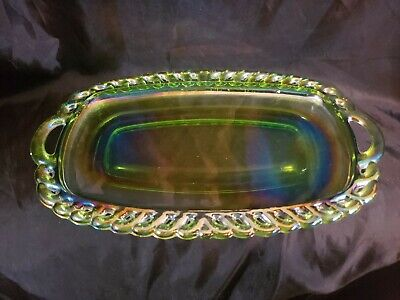 Indiana Glass Green iridescent Carnival Pickle Dish Handled Oval Dish...