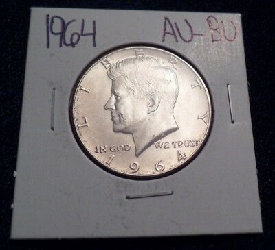 #613 About To Brilliant Uncirculated Silver Kennedy Half Dollar 1964 P Au / Bu