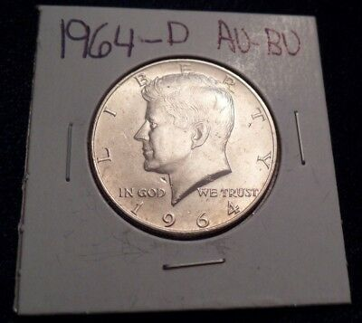 #609 About To Brilliant Uncirculated Silver Kennedy Half Dollar 1964 D Au / Bu