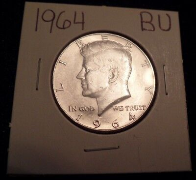 #819 Brilliant Uncirculated Silver Kennedy Half Dollar 1964 Bu