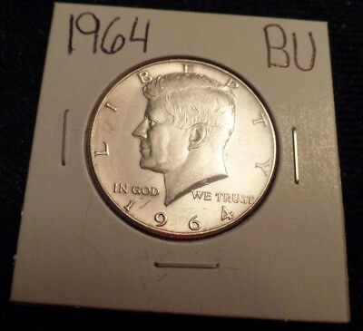 #576 Brilliant Uncirculated Silver Kennedy Half Dollar 1964 Bu