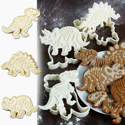 3 Pieces Pairs Dinosaur Cookie Cutters Stampers Emboss Fossil Bone Pattern Set