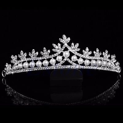 Bridal wedding Formal tiara Head Piece Hair Accessories Pearl Womens Bride