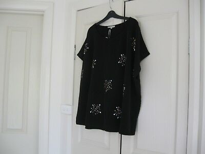 Ladies Long Top Design Belle Curve Plus Size 18 Black with beading  Cap Sleeves