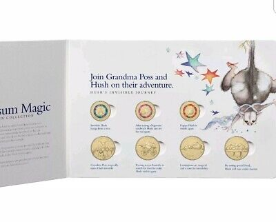 2017 POSSUM MAGIC SET OF  3 x $2, 4 x $1 & 1c UNCIRCULATED COINS (8) IN FOLDER