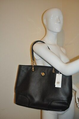 9576ee95e0bd NWT  525+ Tory Burch Whipstitch Logo Tote Shoulder Bag Purse BLACK Leather  NEW