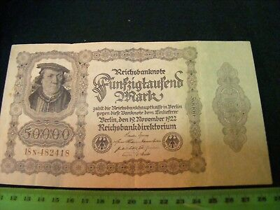 Huge German 50,000-Mark Banknote, Very nice condition, from 1922.