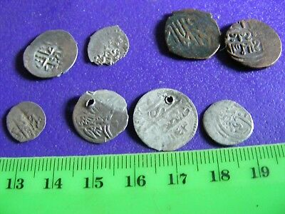 Lot of 8 ANTIQUE Ottoman/Muslim Silver & Bronze Coins,(C).