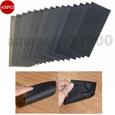 SANDING SHEETS Wet/Dry Silicon Carbide Waterproof Sandpaper Grits 9'' x 3.6''
