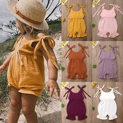 ac35b5f5eb US Cute Toddler Baby Girl Summer Solid Romper Bodysuit Jumpsuit Outfits  Sunsuit