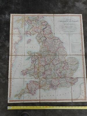 100% Original Large England And Wales  Folding Map On Linen By Gardner C1823
