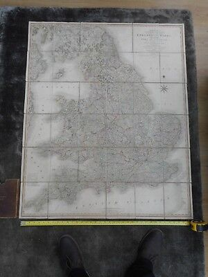 100% Original Large England And Wales  Folding Map On Linen By C Smith C1806