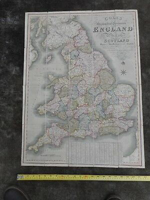 100% Original Large England And Wales  Folding Map On Linen By W Cole C1824