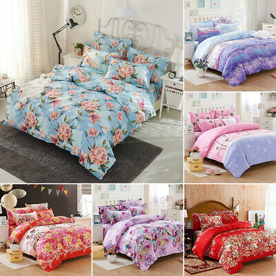 Soft Floral Quilt Duvet Cover Set Flat Sheet Pillowcase Bed Bedding Set 7 Colors