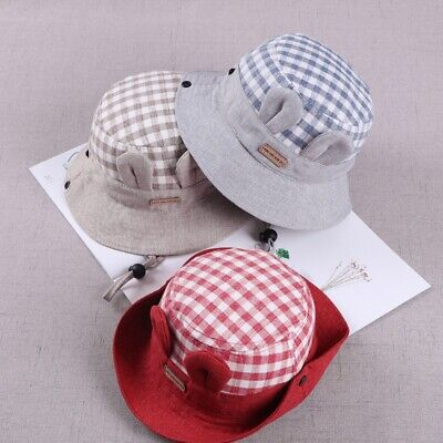 Infant Baby Boys Girls Bucket Sun Hat Kids Summer Sun Beach Bonnet Plaid Cap 296210657575