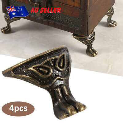 4X Antique Brass Jewelry Gift Box Wood Case Decorative Feet Leg Corner Furniture