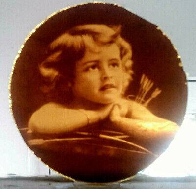 Stained Glass - Cupid vintage pane Kiln fired.transfered amber glass roundel