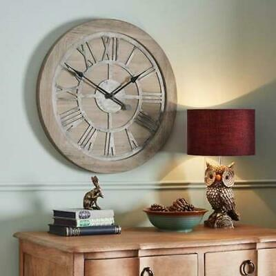Large Wooden Clock - Shabby Round Kitchen Wall Decor And Roman Style Antique New