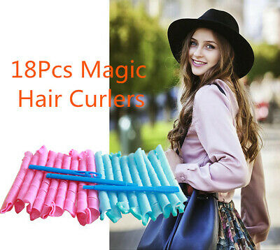 18Pcs 40-75CM Magic Hair Curler Leverag Curlers Formers Spiral Styling Rollers