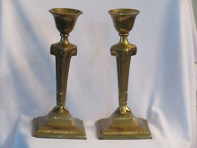 Solid Brass Candlesticks Neoclassical English Georgian Reproduction Large 11.5