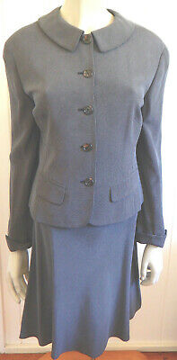 Anne Klein designer vintage charcoal silk jacket & skirt size 10 - 12 (US 6 - 8)