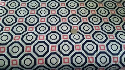Navy Octagons + Pink Squares Print on Ivory 100% COTTON FABRIC Quilt Sew craft