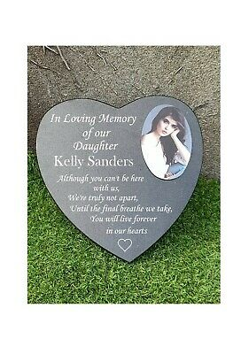 Heart Shaped Engraved Personalised Black Granite Memorial Grave Plaque Stone