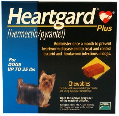 Heart gard Plus 6 Chewable Tablets for Dogs, up to 25 lbs exp 10/2020