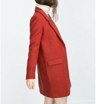 7c4761b9 ZARA BURGUNDY RED Masculine Wool Coat Bloggers Favorite Sold Out XS ...