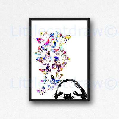 Sloth With Butterflies Watercolour Painting PRINT 8x10 Wall Art