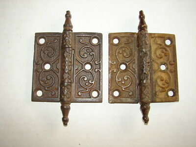 Set of 2 Antique Ornate Eastlake Victorian Steeple Hinges - #2 - GC AS FOUND