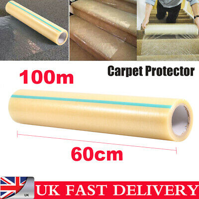 100M Carpet Floor Protection Self Adhesive Protector Clear  Cover Dust Film UK