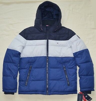 New Large L Tommy Hilfiger Mens quilted padded puffer winter jacket coat  Blue 660b3d025