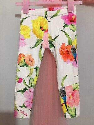 Lovely Baby Girls Designer Ted Baker White Floral Bird Print Leggings 18-24m🦜