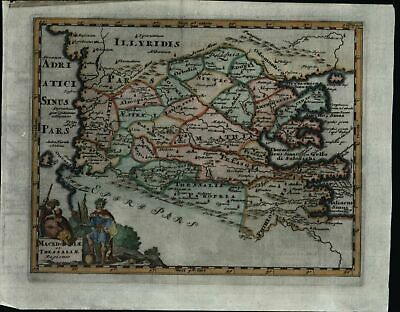 Macedonia Thessaly Greece Adriatic coast 1729 decorative Cluver antique map