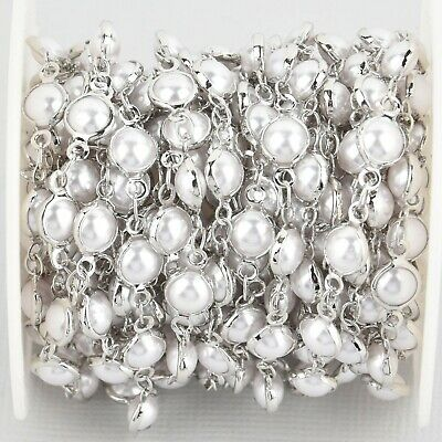 5 yards Silver 6mm Pearl Rosary Chain, faux pearls, white gold plated, fch1078b
