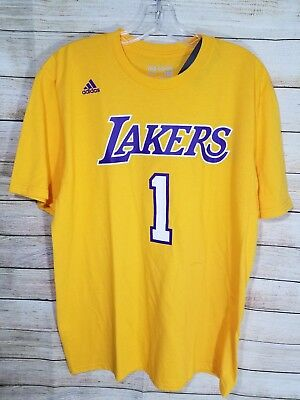 38d4f7dbc D Angelo Russell Los Angeles Lakers NBA Adidas Men Gold Name   Number T-