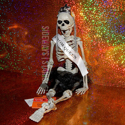 """16"""" PROM QUEEN SKELETON hangable Halloween decoration jointed horror tiara tulle"""