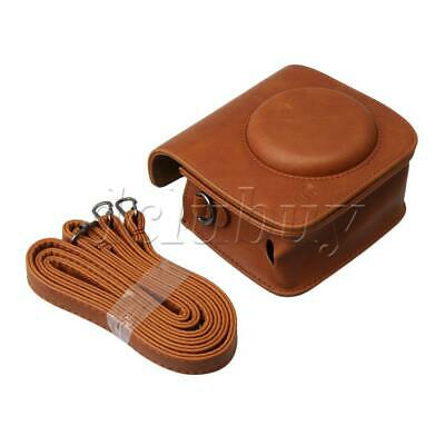 Brown PU Leather Camera Carrying Bag with Strap for Fuji Mini25 Cameras